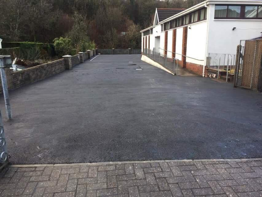 Car Park Surfacing Contractors Swansea completed tarmac car park and forecourt area in Ystradgynlais Spiritual Church