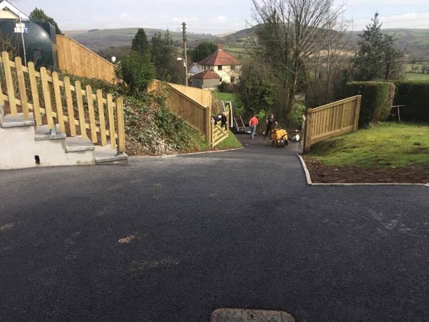 View from top of tarmac drive completed by asphalt Driveways Swansea in Craig Cefn Park in Swansea